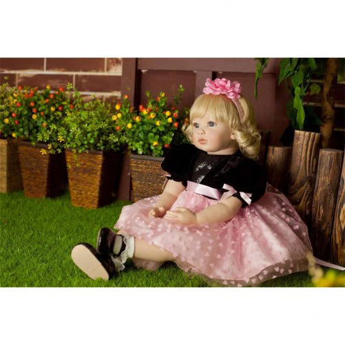 "24"" Simulation Baby Golden Curly Girl Wearing Black Skirt"