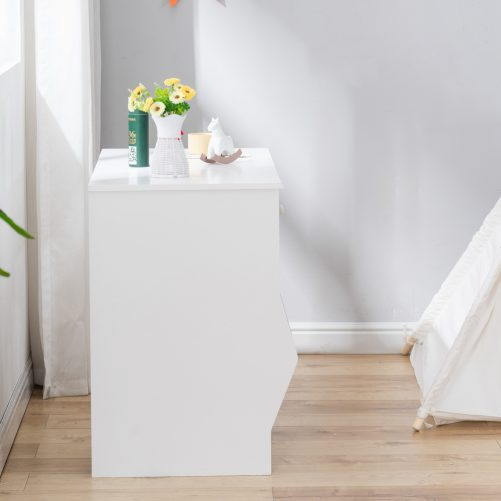 Painted Simple Student Table, White with Drawers and Storage