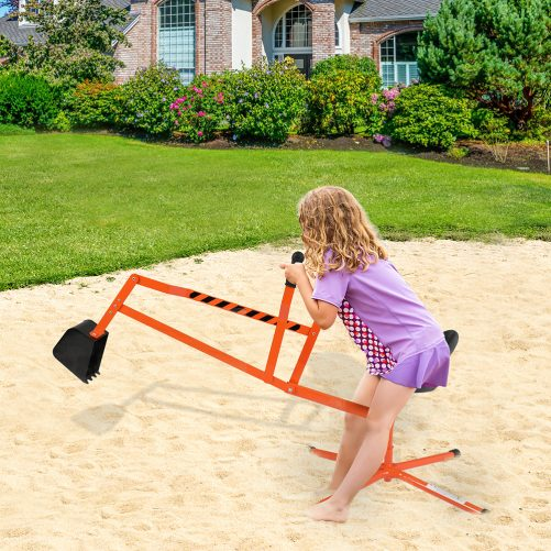 Sand Digger Ride On With 360°Rotatable Seat And Metal Base, Orange