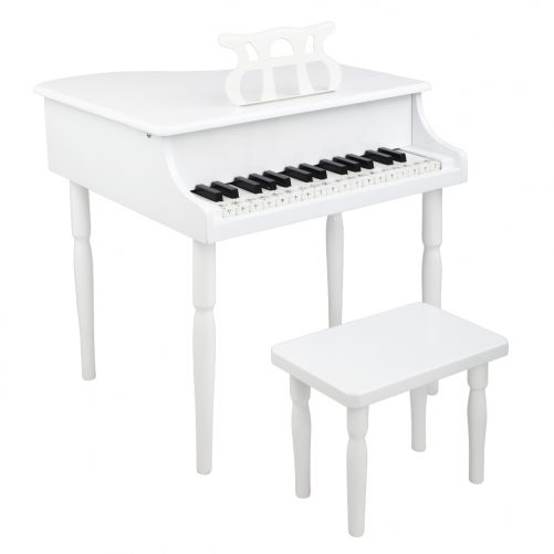 30-key Children's Wooden Piano / Four Feet / with Music Stand, White