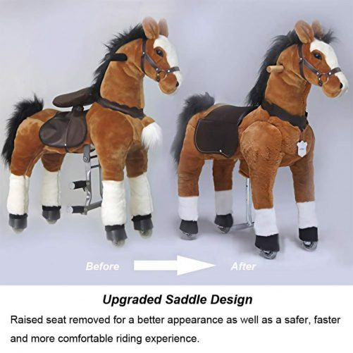 36'' Ride-on Unicorn for 4-9 Years Old  (White Unicorn with Golden Horn)