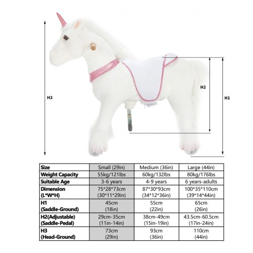 29'' Ride-on Unicorn for 3-6 Years Old. (White Unicorn with Pink Horn)