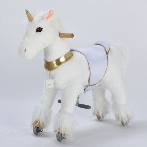 29'' Ride-on Unicorn for 3-6 Years Old (White Unicorn with Golden Horn)