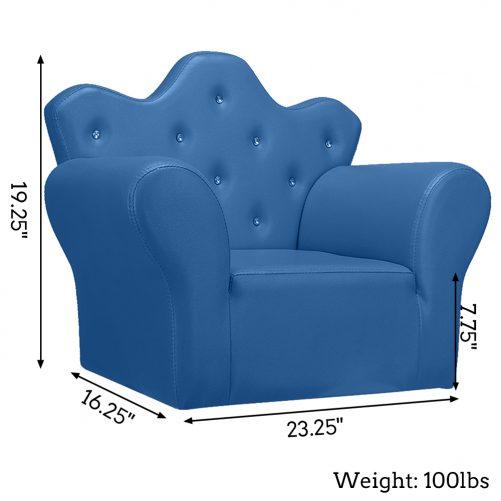 PVC Leather Princess Sofa, Bright Blue