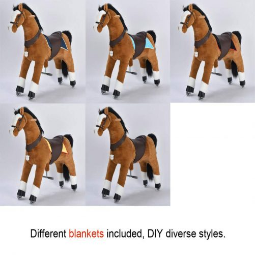 44'' Ride-on Horse for 6 Years Old  to Adult(Black Mane and Tail)
