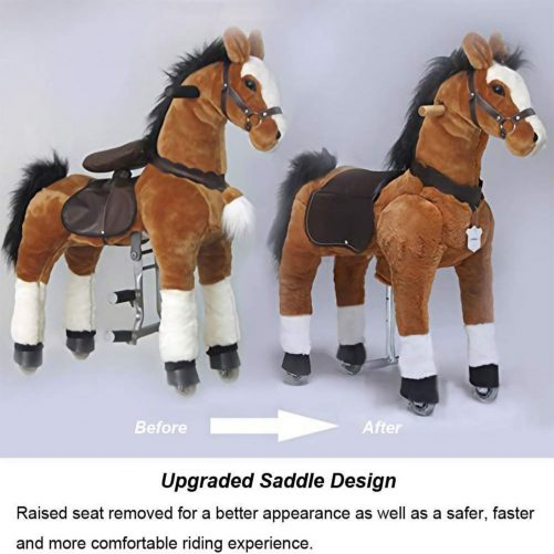 44'' Ride-on Horse for 6 Years Old to Adult. (White Mane and Tail)