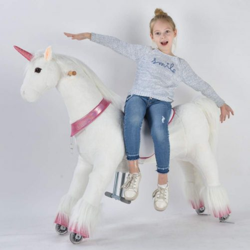 44'' Ride-on Unicorn for 6 Years Old to Adult (White Unicorn with Pink Horn)