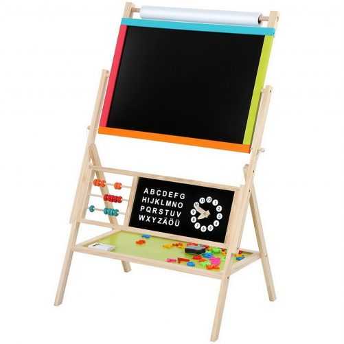 Wooden Kid's Art Education Easel With Accessories