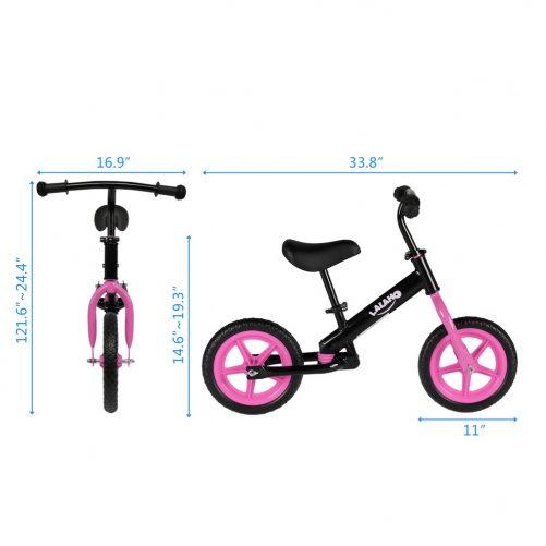 Kids Balance Bike  Height Adjustable  Pink