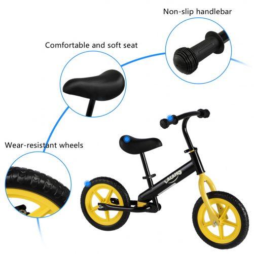 Kids Balance Bike  Height Adjustable  Yellow