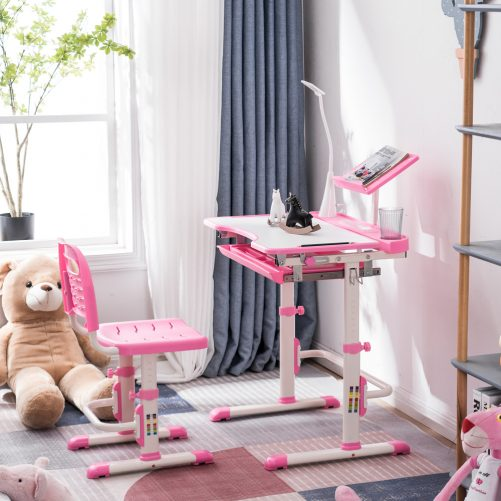 Student Desks and Chairs Set C Style with Light, Pink
