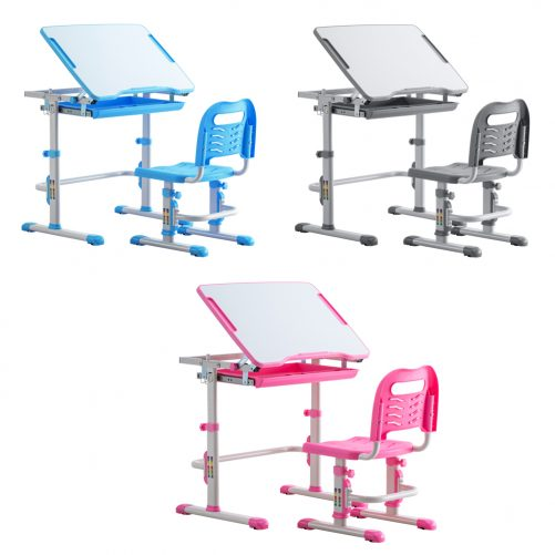 Student Desks and Chairs Set White Lacquered White Surface Light Grey Plastic