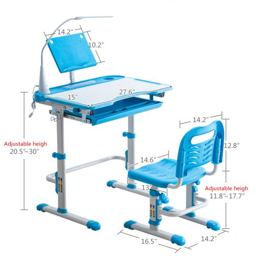 Student Desks and Chairs Set C Style with Light, Blue